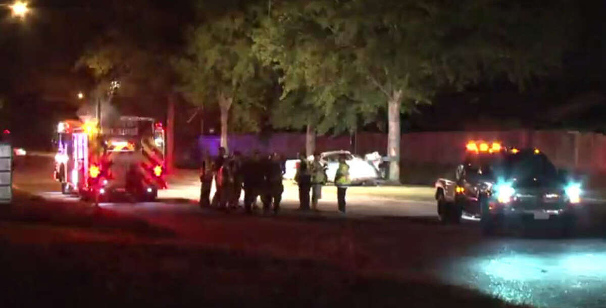 A teenager died in a traffic crash about 9:30 p.m. Thursday, Oct. 6, 2016, when his Pontiac Grand Prix slammed into a tree in the 9000 block of Antoine in northwest Harris County. (Metro Video)