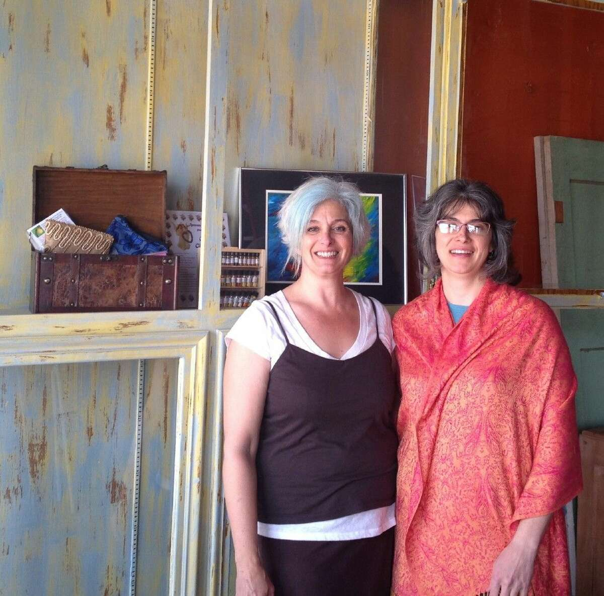 Sisters Dr. Karla Bruning and Vonda Broussard (right) have opened a new art gallery and artist market in Livingston.