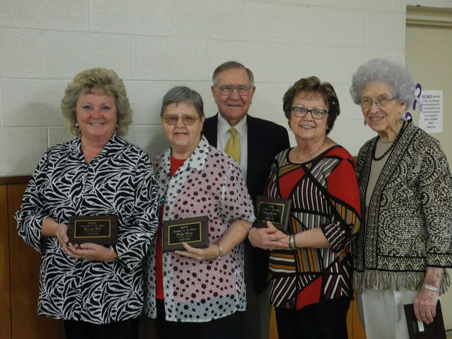 "RSVP award winners include Beverly Wall (left), Ethelyn Vernon, Bobby ""Buddy"" McGehee, Nancy Bowden and Audrey Hooper. The 43rd Annual Volunteer Recognition Banquet was held Tuesday in the Parish Hall at St. Alice Catholic Church, Plainview."