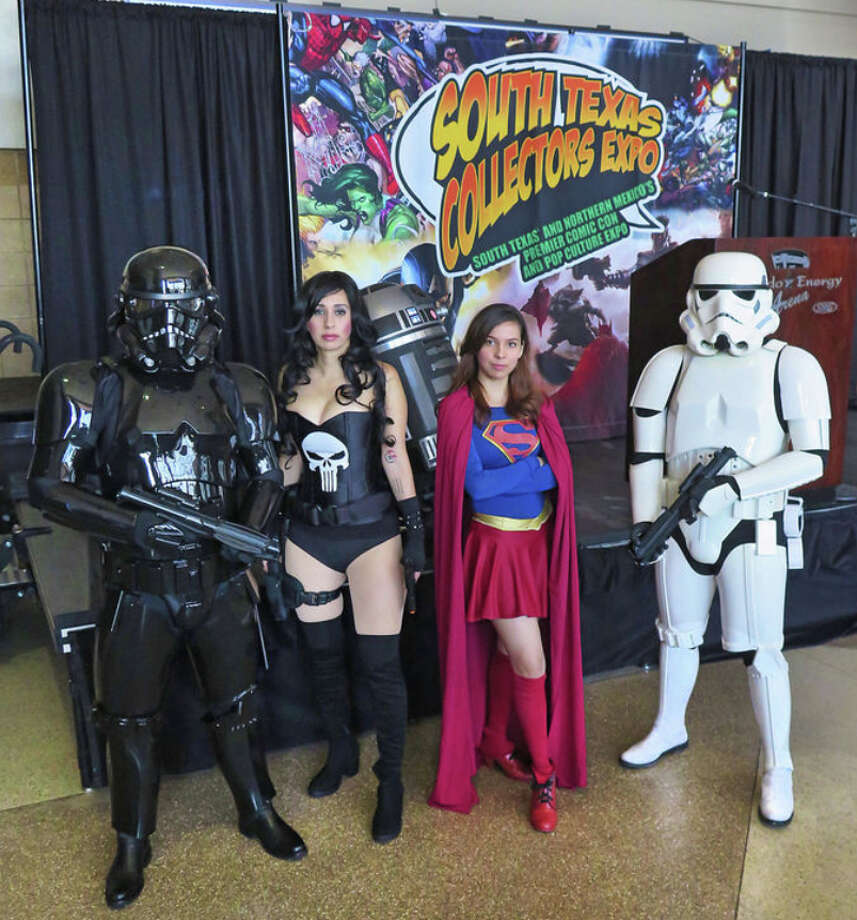 Characters who will be on hand for this weekend's South Texas Collectors Expo at the Laredo Energy Arena pose for members of the media Wednesday, Oct. 5, 2016. Photo: Cuate Santos/Laredo Morning Times