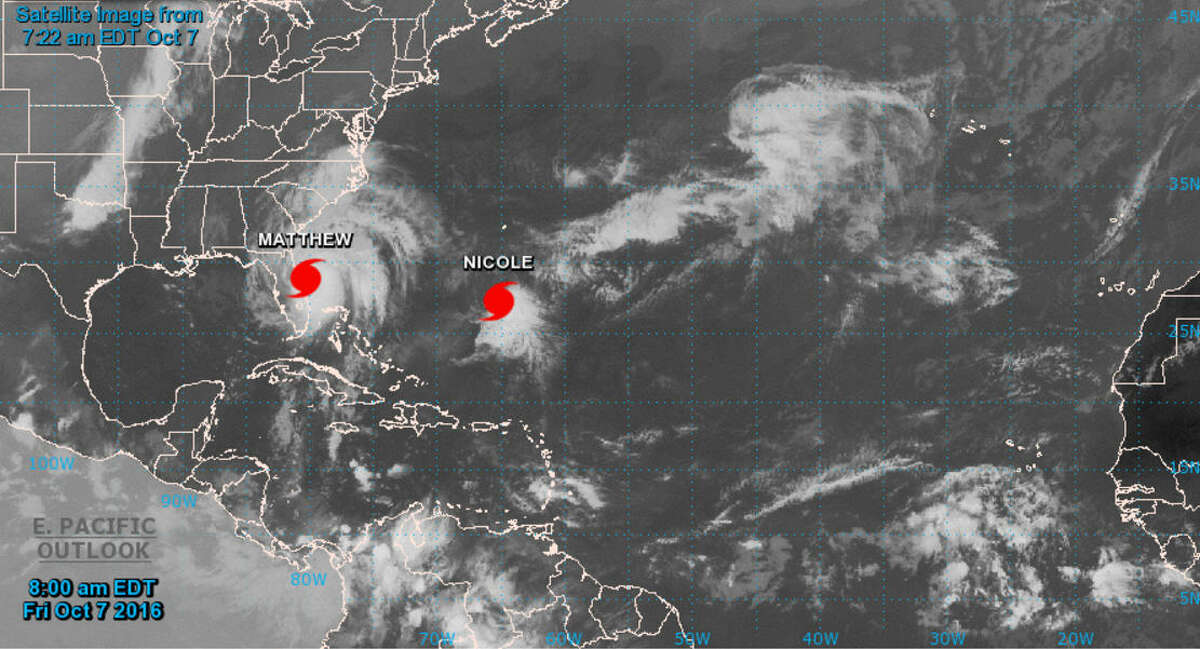 A second hurricane named Nicole has reached Category 2 status with sustained windspeeds of 100 mph just east of Hurricane Matthew as of Friday, Oct. 7, 2016. Outer bands of the two storms were already touching as of Friday morning, however the National Hurricane Center had put the two storms on an even closer path by early next week when the two storms could either merge or bounce off one another in the Atlantic, sending either hurling back toward the East Coast.