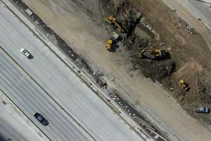 Aerial view of cars driving next to construction on I-45 Wednesday, September 7, 2016.