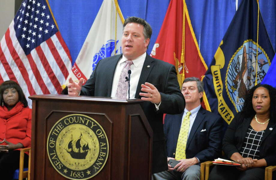 County Executive Dan McCoy, center, announces the launch of a regional immigrant assistance program Friday, Jan. 22, 2016, in Albany, N.Y.  (John Carl D'Annibale / Times Union archive) Photo: John Carl D'Annibale / 10035109A