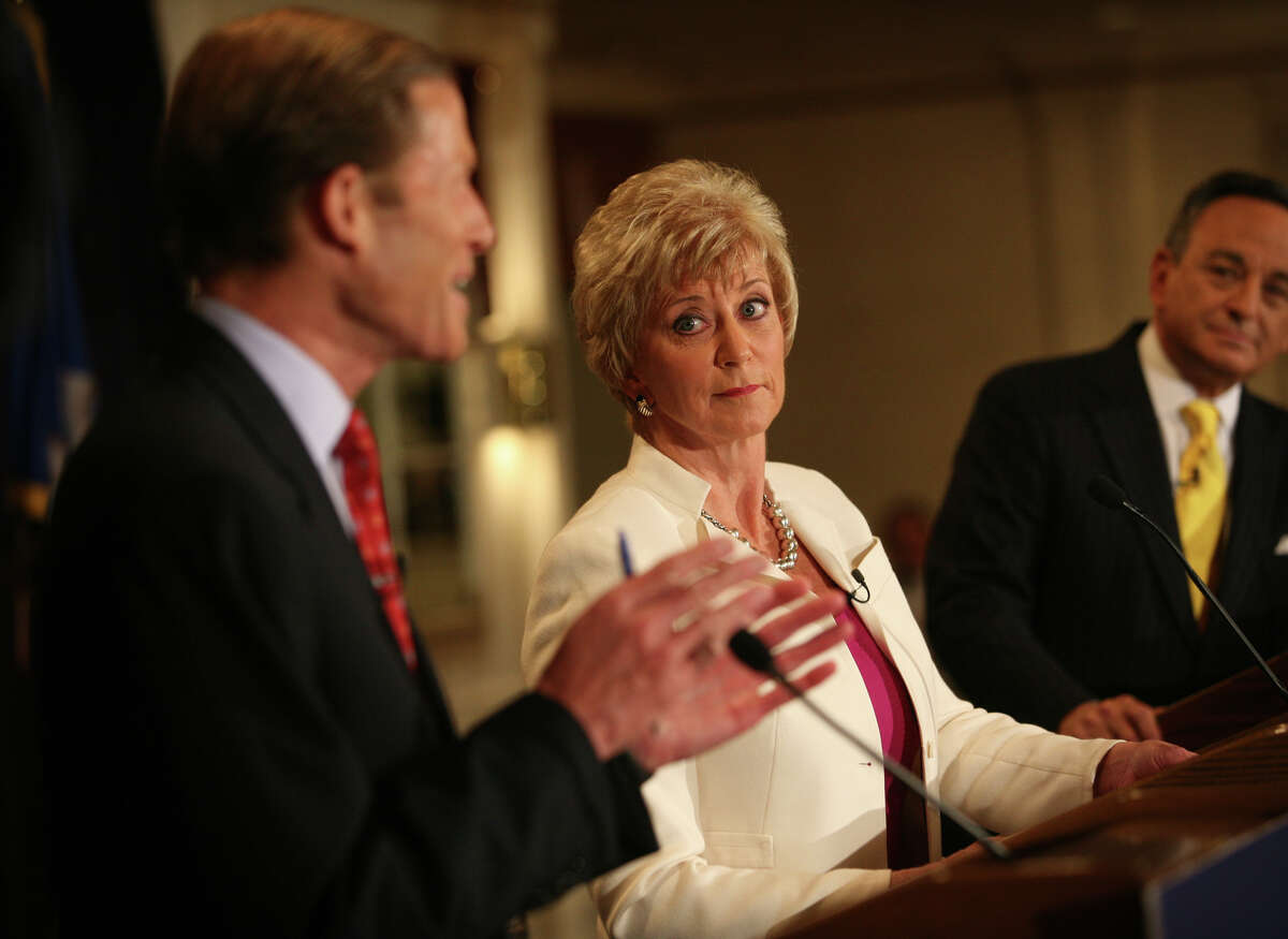 From left; Senate Democratic Candidate Richard Blumenthal, Republican Candidate Linda McMahon, and moderator Tom Appleby at the Senate Debate at the Continental Manor in Norwalk in 2010.