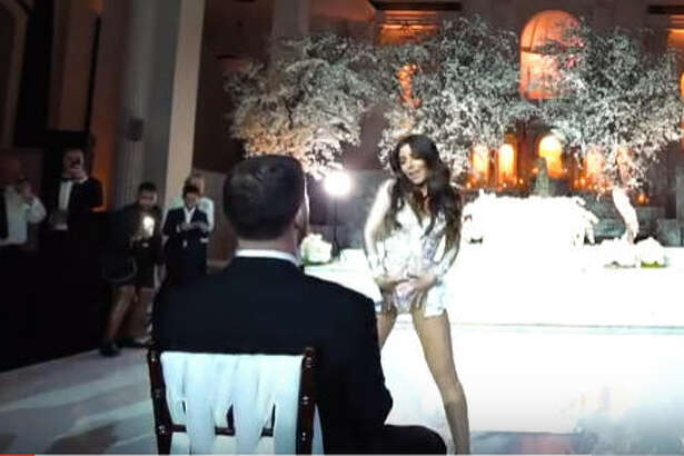 Melissa Molinaro dances for her husband to a Beyonce medley on their wedding day.   Source:   youtube.com