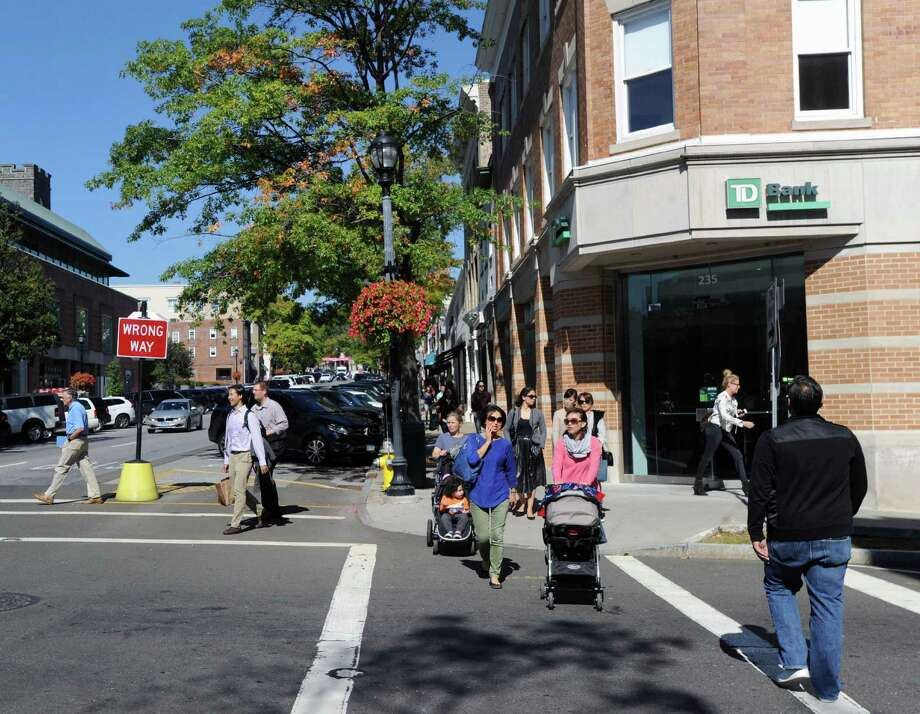 Greenwich Avenue as seen looking north from the corner of East Elm Street, right, Greenwich, Conn., Friday, Oct. 7, 2016. Photo: Bob Luckey Jr. / Hearst Connecticut Media / Greenwich Time