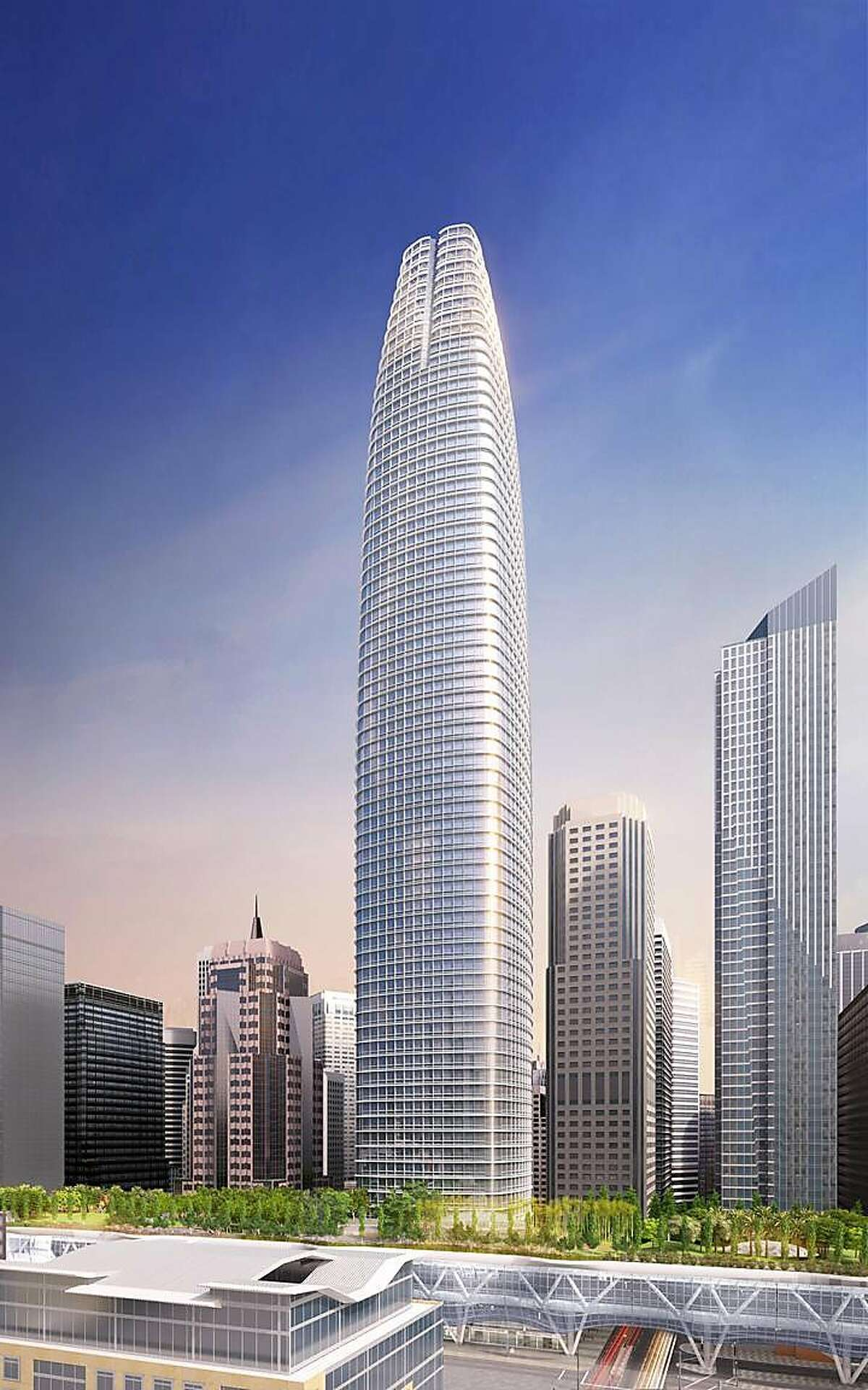 The winning vision: The refined Pelli Clark Pelli Architects design for what is now known as the Salesforce Tower at First and Mission streets in San Francisco. It was tweaked to give it a more distinctive appearance on the skyline, especially at night. Compare it to the reality ...