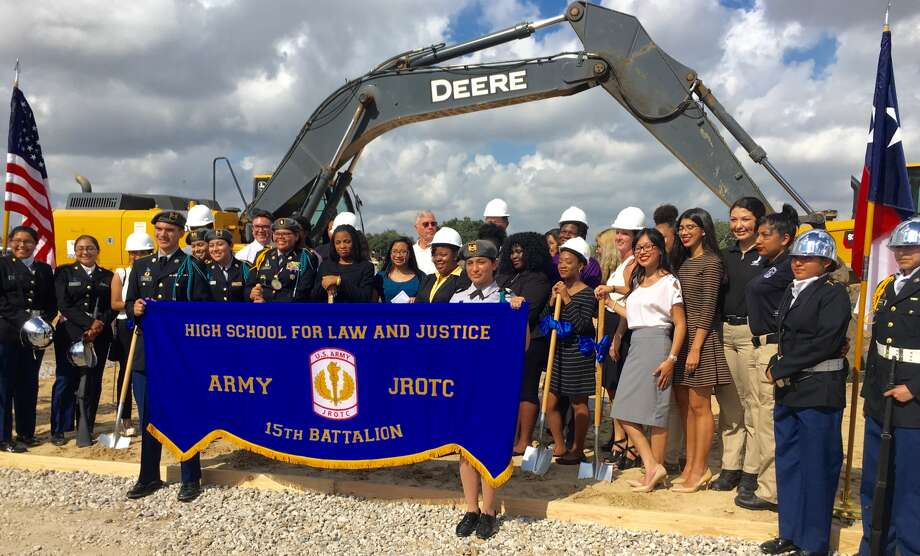 50 students attended the groundbreaking of HISD's High School for Law & Justice Oct. 6, 2016. Photo: Slack And Co.