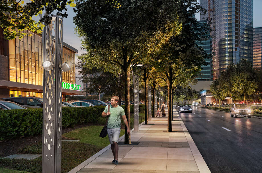 Work is underway on the expansion of Post Oak Boulevard to add two dedicated bus lanes and 12-foot sidewalks. Photo: Courtesy Of Uptown Houston