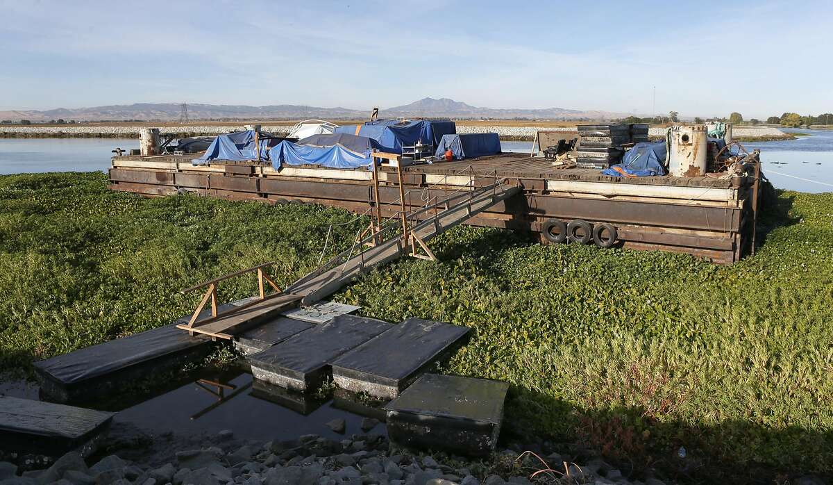 A barge is anchored at Rock Slough in Brentwood, Calif. on Friday, Oct. 7, 2016. A study released by the Bay Institute shows a dramatic decrease in river water levels flowing into the bay delta.