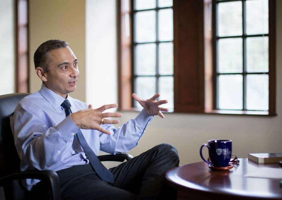 Peter Rodriguez, the new dean at the Jones Graduate School of Business at Rice University, discusses entrepreneurship and other topics during a recent interview with the Chronicle. Photo: Marie D. De Jesus, Staff / © 2016 Houston Chronicle