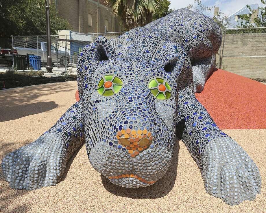 Pantera Azul is a creation by artist Oscar Alvarado in the Yanaguana Garden at Hemisfair. Photo: Edward A. Ornelas /San Antonio Express-News / © 2015 San Antonio Express-News
