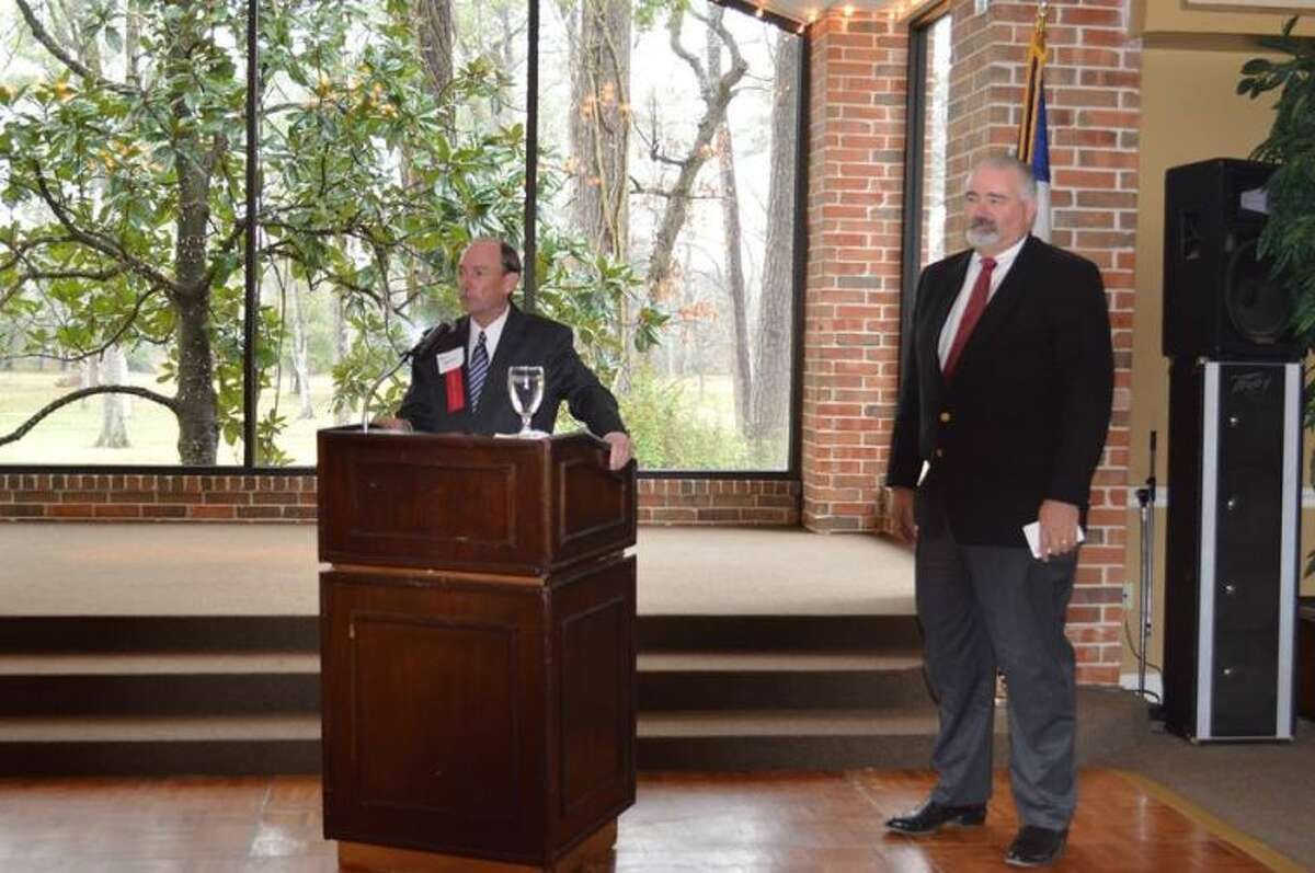 Precinct 4 Commissioner Jack Cagle gives a State of Precinct 4 speech to chamber members at Shirley Acres.