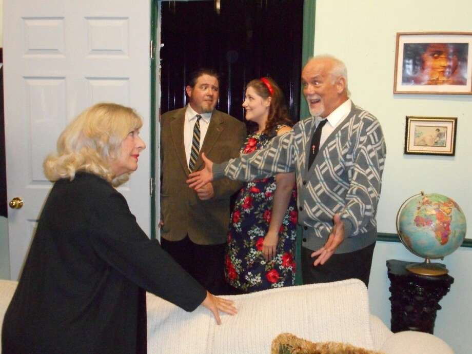 "Julie Owen, left, stars with Billy Chmielewski, Kelsie Peltier and Jeff Luchsinger in Edward Albee's ""Who's Afraid of Virginia Woolf"" at Pasadena Little Theatre."