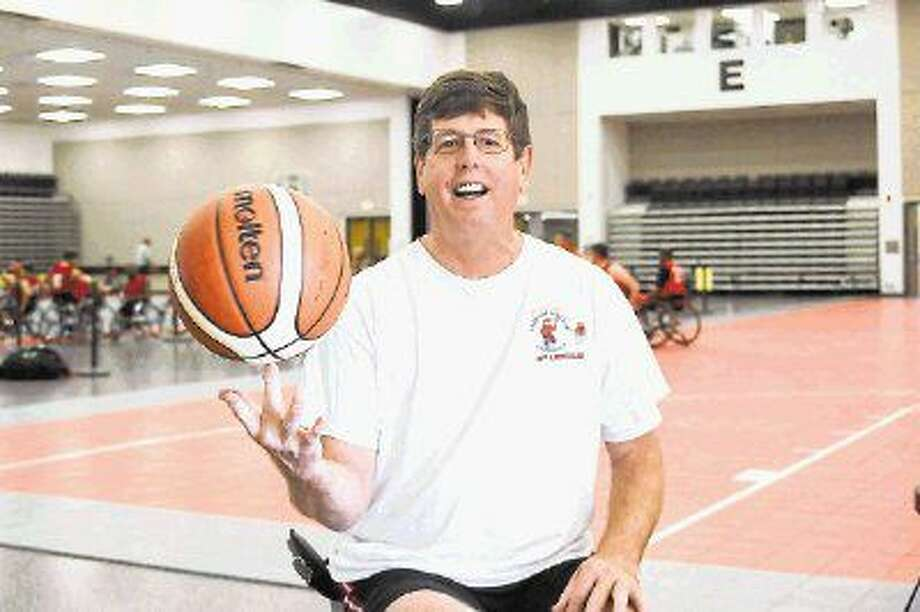 "At home in Charlottesville, Tom Vandever is a former two-term mayor. As a member of the Charlottesville Cardinals and Z's Army, he is the ""big man"" on the court. Vandever was one of the athletes competing at the Texas International Shootout Wheelchair Basketball Tournament in Pasadena Sept. 2-4. Photo: Kirk Sides"