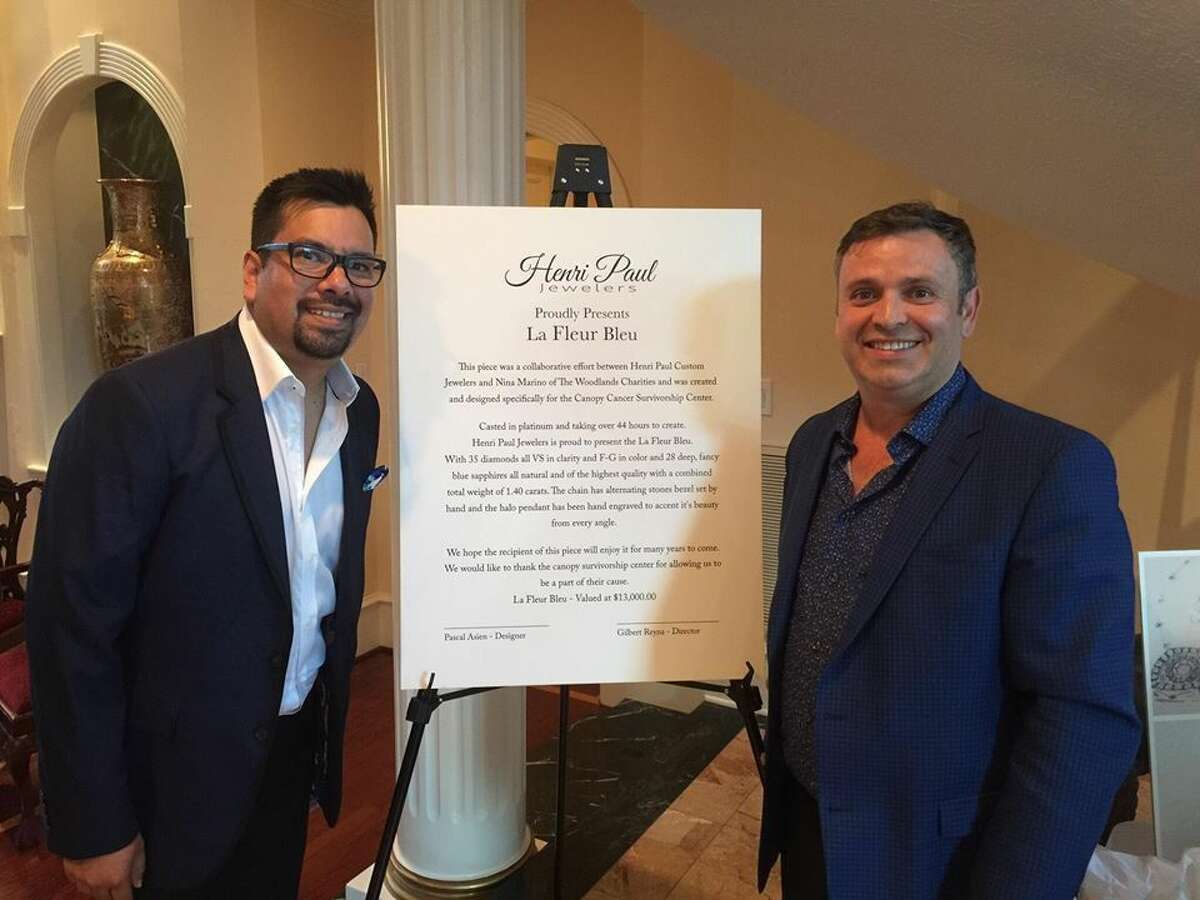 Pascal Asien and Gilbert Reyna with Henri Paul, a new concierge jeweler in The Woodlands, are donating a one-of-a-kind necklace to The Woodlands Charities