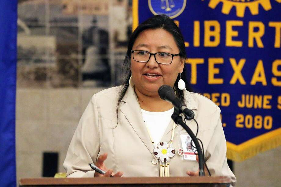Yolanda Poncho, marketing coordinator for Naskila Gaming, served as the mistress of ceremonies in the presentation given by the Alabama-Coushata tribe members to the Rotary Club. Photo: David Taylor