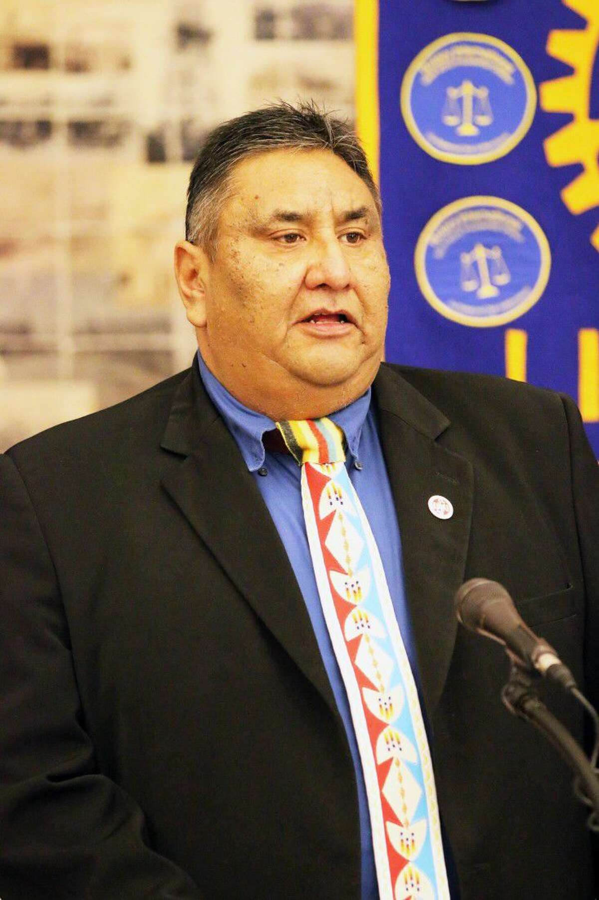 Clint Poncho, tribal council member, spoke to Rotarians at the presentation by the Alabama-Coushatta Tribe on the process for obtaining their Class II gaming ordinance.