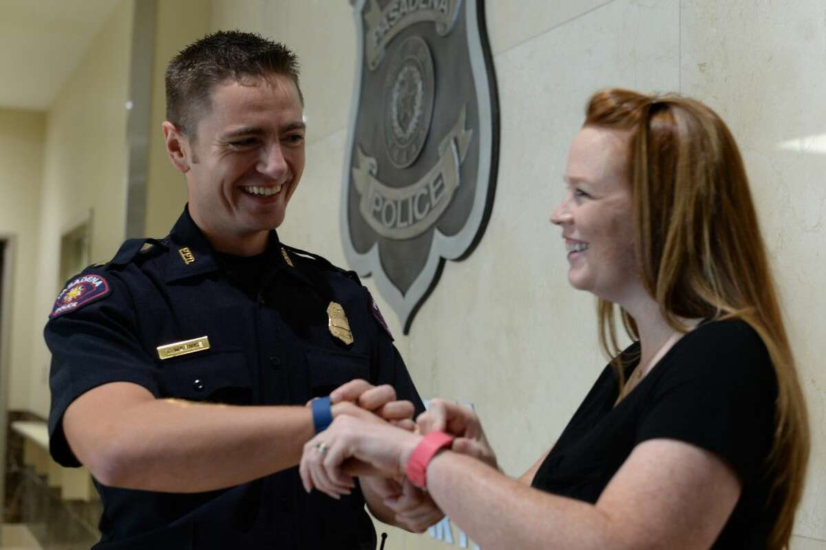 Pasadena police Lt. Thomas Warnke, with wife, Keleigh, said family, friends and his team at TIRR Memorial Hermann have played a big role in his recovery.