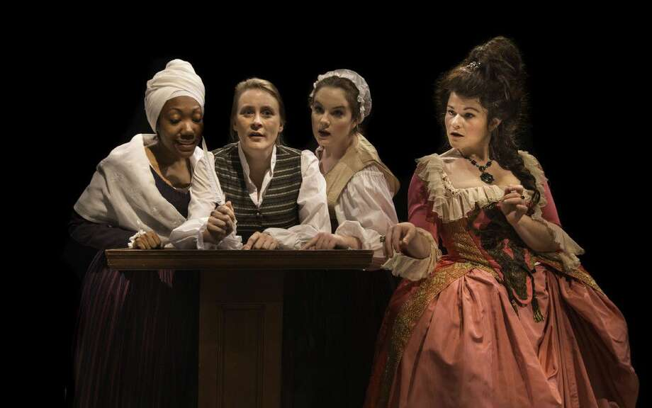"""Pictured in Main Street Theater's """"The Revolutionists"""" from left are Marianne Angelle (Callina Situka), Olympe de Gouges (Shannon Emerick), Charlotte Corday (Molly Searcy) and Marie Antoinette (Bree Welch)."""