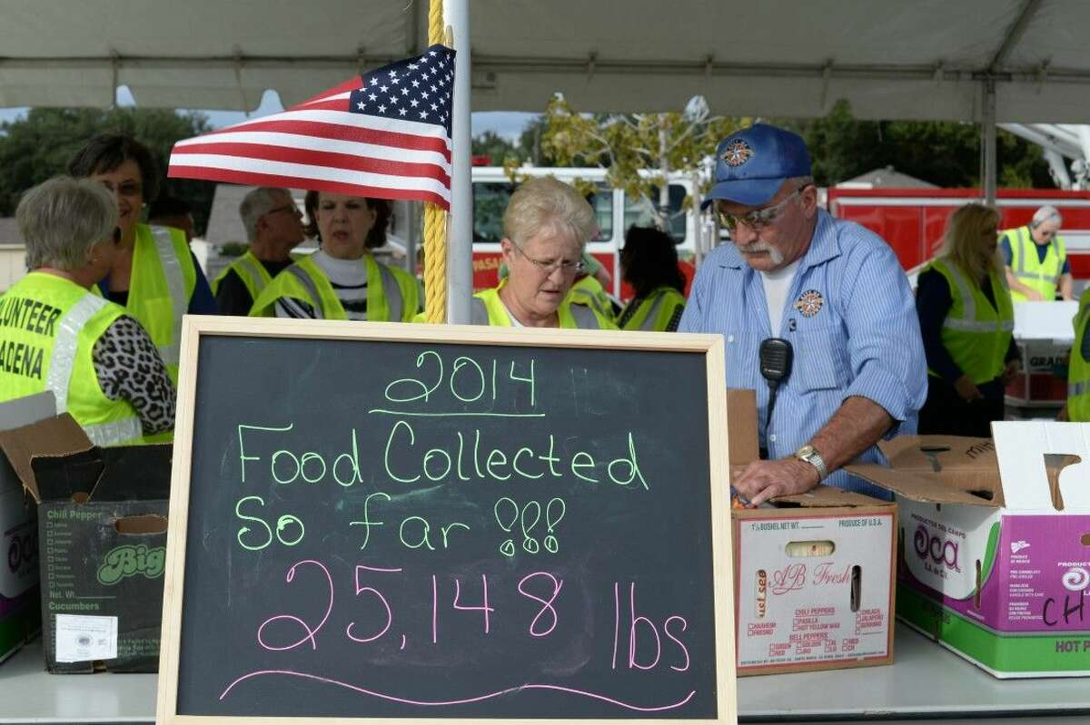The City of Pasadena held its 6th Annual Can-Do Food Drive Thursday on the eve of Thanksgiving holiday week. Volunteers and city staff began accepting canned goods at 6 a.m. and by 3 they had collected more 20,000 pounds of food at Veterans Memorial Stadium on Burke.