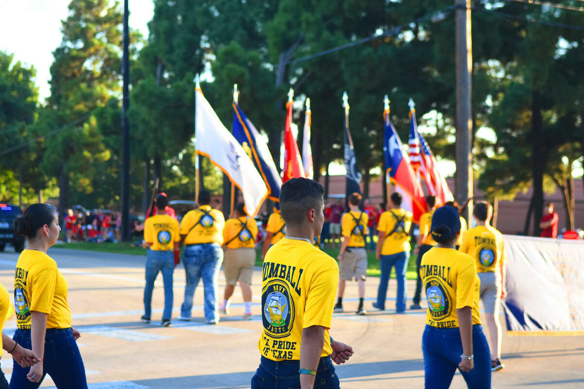 The Tomball High School Navy ROTC served as color guard for the Tomball Homecoming Parade. Patriotism and pride were on full display Wednesday, as the town turned out to celebrate the football team and the spirit of community, itself.
