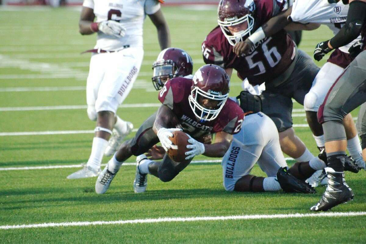 Jaiden Woodson (20) and his Clear Creek teammates take on Clear Springs at 7 p.m., Friday at Challenger Columbia Stadium.