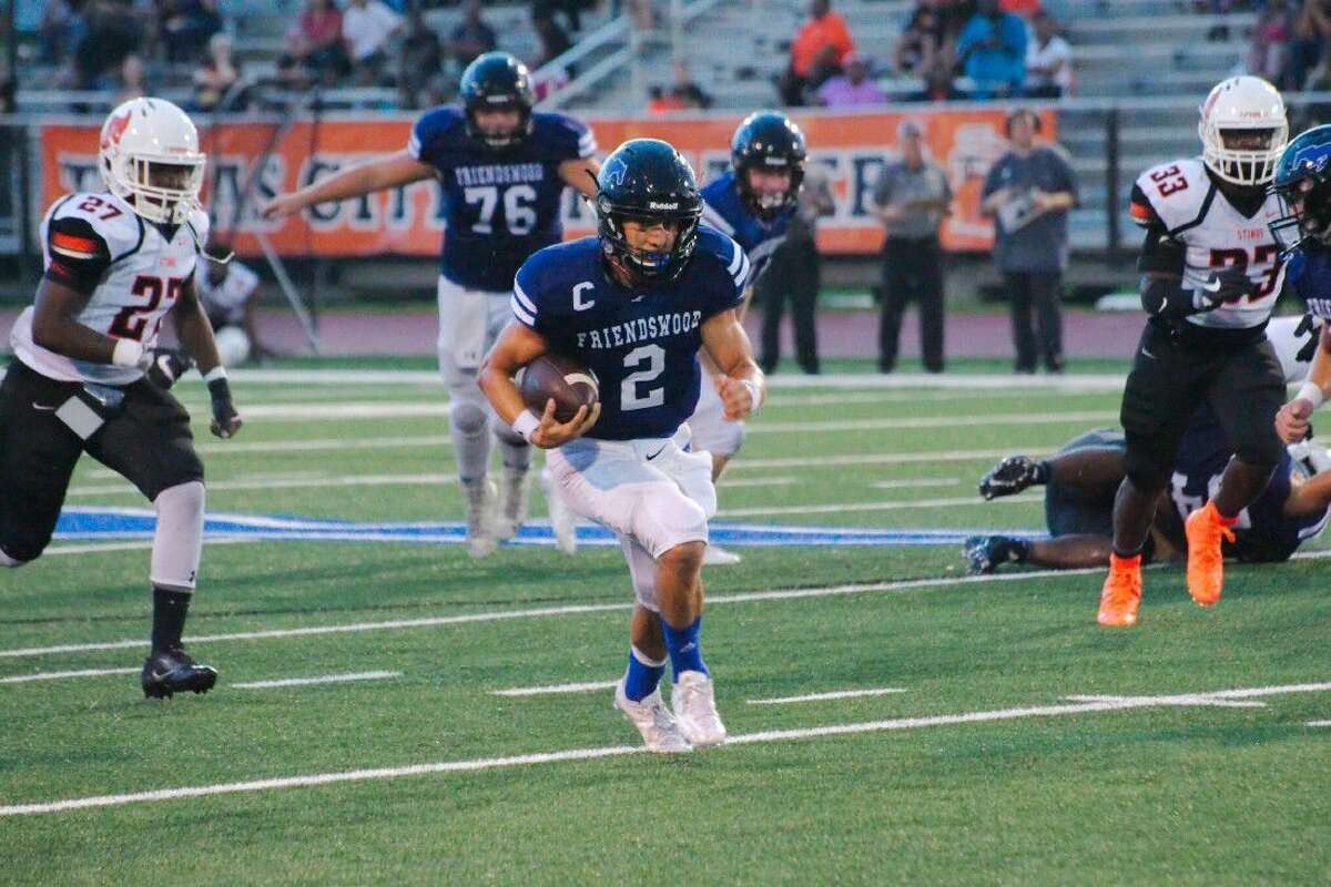 Friendswood' quarterbackTyler Page (2) will have his toughest challenge of the season against a fast, aggressive Dickinson defense.