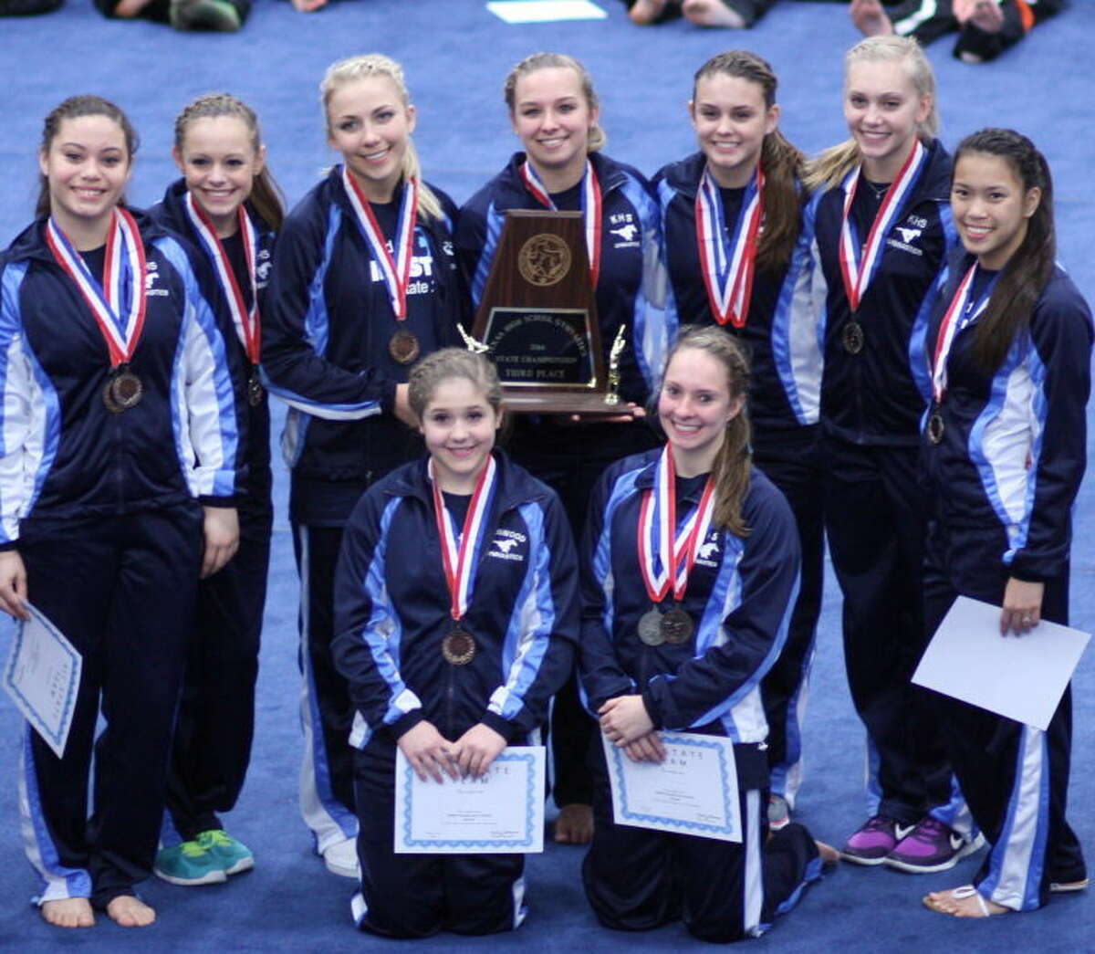 The Kingwood girls gymnastics team finished third at the state championships last week. Pictured left to right. Front row: Jessie Madere and Madison Maxey. Second row: Sydney McAndrews, Meghan Loeffler, Katya Ballands, Morgan Settegast, Lauren Torres, Karsen Kruger and Jayda McChane. Not pictured: Samantha Refvik.