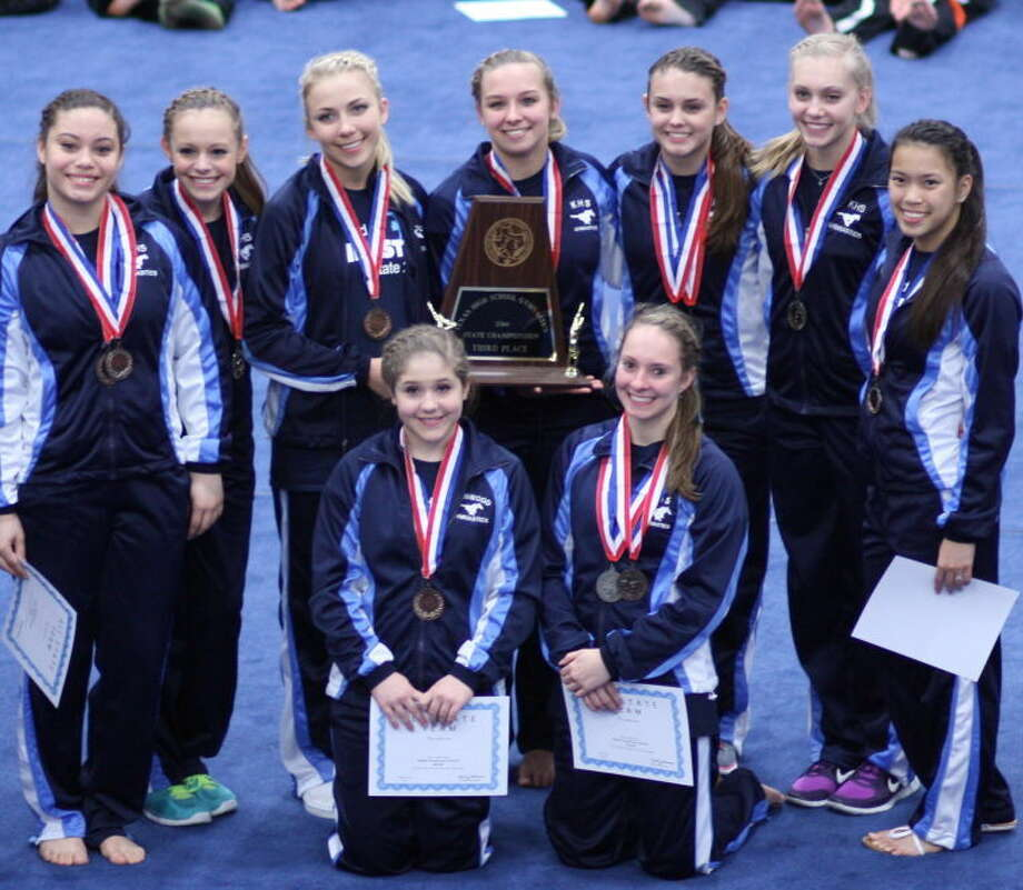The Kingwood girls gymnastics team finished third at the state championships last week. Pictured left to right. Front row: Jessie Madere and Madison Maxey. Second row: Sydney McAndrews, Meghan Loeffler, Katya Ballands, Morgan Settegast, Lauren Torres, Karsen Kruger and Jayda McChane. Not pictured: Samantha Refvik. Photo: Picasa