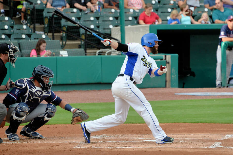 Sugar Land Skeeters outfielder Rene Tosoni hit a two-run home run in the eighth inning for a 10-9 win in game two of the Atlantic League Freedom Division Series. The Skeeters head to York with a 2-0 series lead. Photo: Craig Moseley