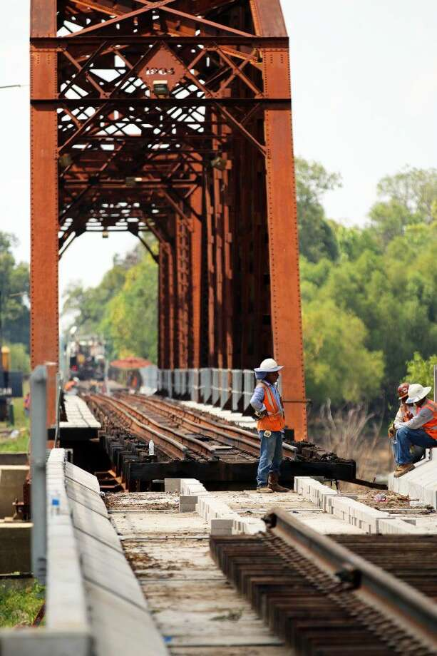 Union Pacific replaced more than 60 percent of the aging Liberty Bridge that crosses the Trinity River on Tuesday. The 12-hour project was completed without any issues. Photo: David Taylor