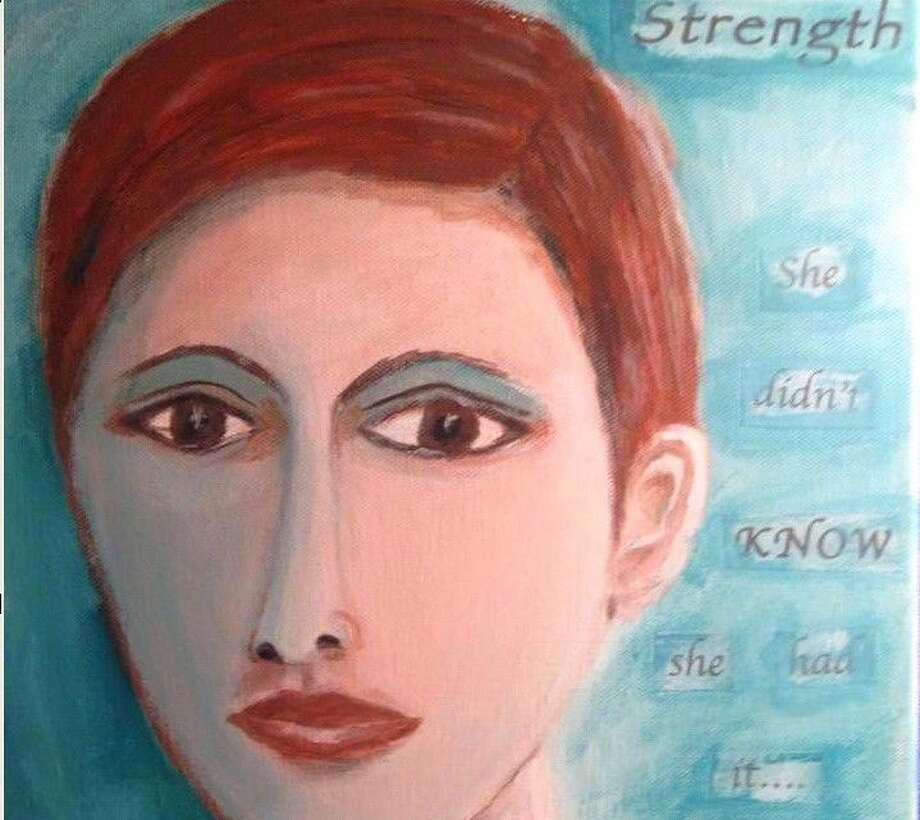 "When Kingwood resident Janet Little was diagnosed with ovarian cancer, she took up painting as a way to take her mind off of the diagnosis. This is a section of a painting by Little that reads ""Strength, she didn't know she had it..."" It is now used to represent the Teal Tales brand."