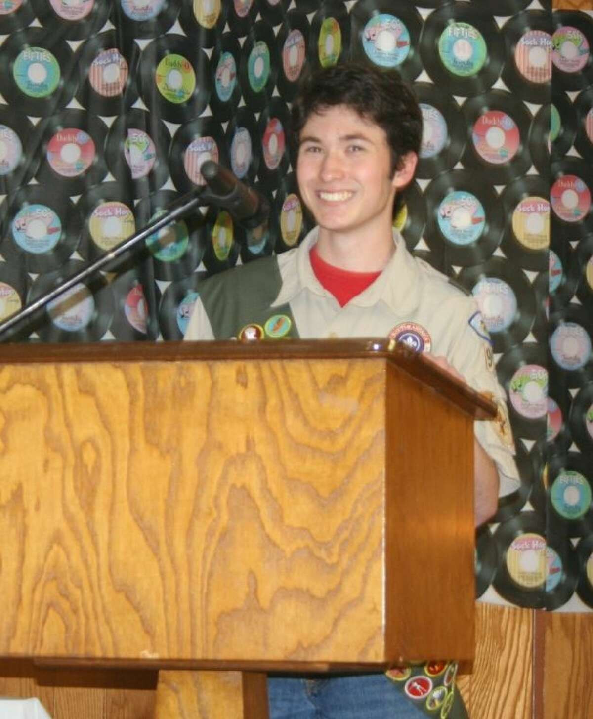 Eagle Scout Cory Rodriguez gives a speech during his Eagle Scout ceremony on Saturday, Jan. 25.
