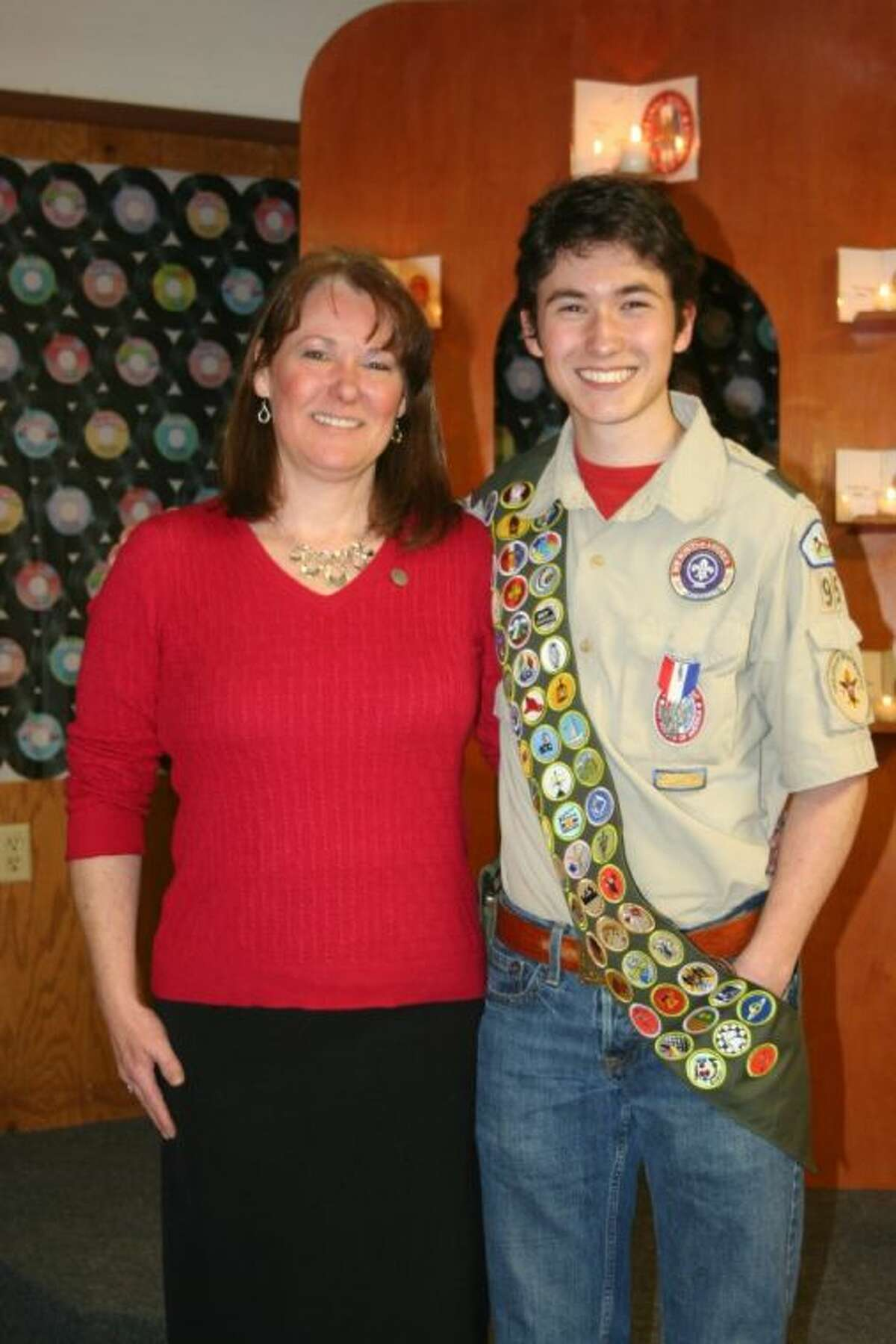 Cory Rodriguez and his mother, Keena Tarrant, celebrated during his Eagle Scout Code of Honor Ceremony.