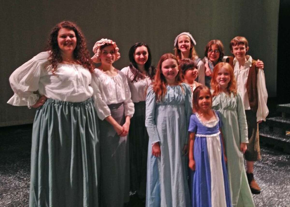 CFISD students prepare for their various roles in the upcoming production of Les Misérables at Lone Star College-CyFair. Pictured (back row, L-R) are Baylee Kilgore, Cypress Ranch (chorus); Cameron Hill, Cypress Woods (chorus); Mackenzie Bitz, Cypress Ranch (Cosette); Erin Slatton, Copeland (chorus); Collin Slatton, Aragon (chorus); Finn Adams, Spillane (Gavroche); (second row) Annie Shouse, Yeager (little Cosette); Michael Hernandez, Copeland (Gavroche); Lucy Adams, Rennell (little Cosette); and (front row) Katelynn Hernandez, Copeland (little Eponine). Not pictured is Yveonne Peace, Cypress Woods (chorus).