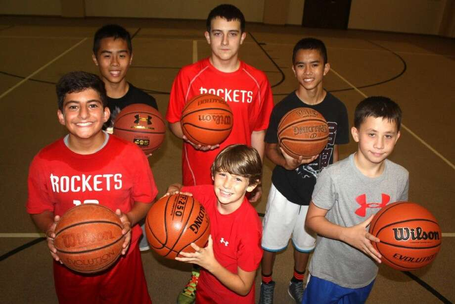 Members of the Warriors summer basketball team took time out from a practice on Memorial Baptist Church's carpeted gym floor for this group shot. A hodgepodge of players from four local schools, the group picked up plenty of valuable playing time against some quality competition in the seventh-grade division. (From L-R back row) Phong Hoang, Andres Rodriguez (Pasadena-FBCA) and Timothy Tran (Bondy Intermediate). Front row L-R) Tony Baba (Carter Lomax), Parker Nichols (Carter Lomax) and Clay Brabston (Bondy Intermediate). Not pictured is Mason Lonsford (FBCA) and Elias Baba (Carter Lomax).