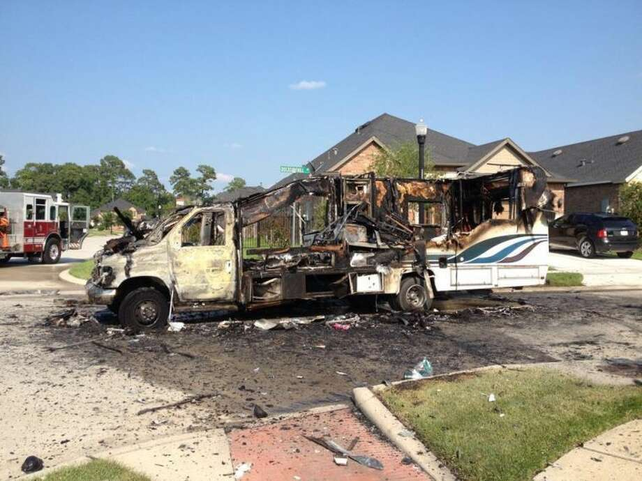 A reported explosion and subsequent fire in a RV near the Walden subdivision in Atascocita, rocked the neighborhood on Wednesday, July 23. Photo: By Jennifer Summer