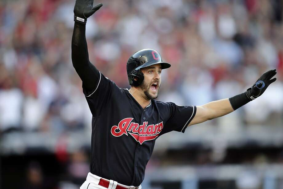 Cleveland's Lonnie Chisenhall is up in arms after hitting a three-run home run against Boston in Game 2. Photo: Aaron Josefczyk, Associated Press