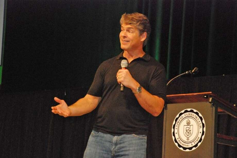 Author Tim Green was the morning keynote speaker for the Cy-Fair Book Festival on Saturday.