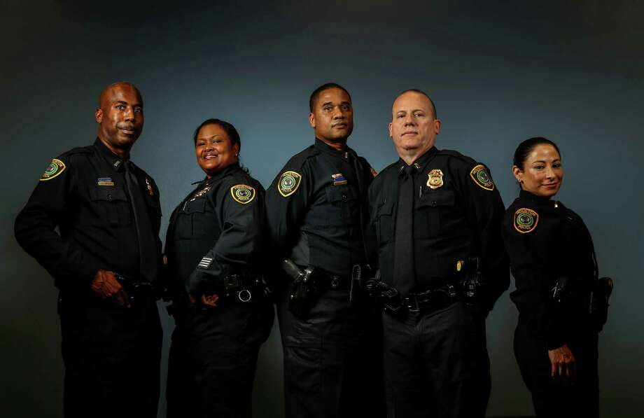 Lieutenants James Bryant, Sheryl Victorian, Kevin Deese, William McPherson, and Patty Cantu photographed at HPD Headquarters, Friday, Oct. 7, 2016 in Houston. Promotions set to occur at HPD in the coming months. Four of 5 of the top candidates are minority lieutenants, which is notable given HPD's lack of diversity in the captain's ranks. Photo: Karen Warren, Houston Chronicle / 2016 Houston Chronicle
