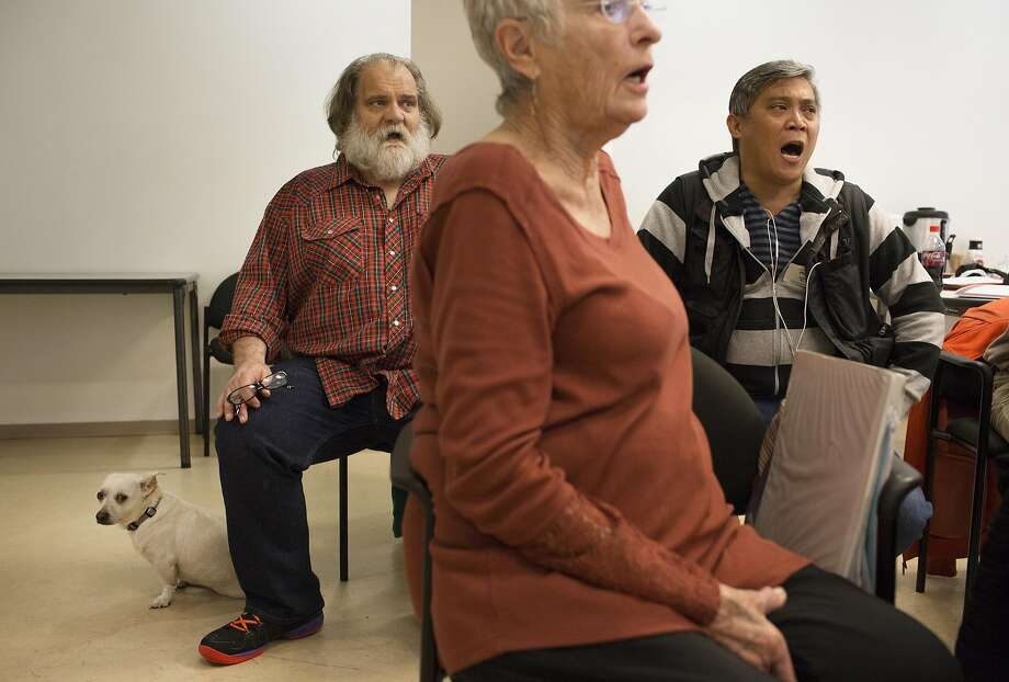Mark Jackson, far left, sings with Singers of the Street, a homeless choir led by Rev. Megan Rohrer of Grace Lutheran Church during a rehearsal at First Congregational on Monday, Oct. 3, 2016 in San Francisco. Photo: Erin Brethauer, The Chronicle