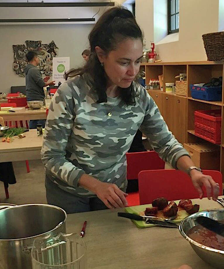 Diane Gordon, a preschool teacher at Putnam Indian Field School, made organic tomato jam during her professional development at the Stone Barns Center for Food and Agriculture. Photo: Contributed Photo