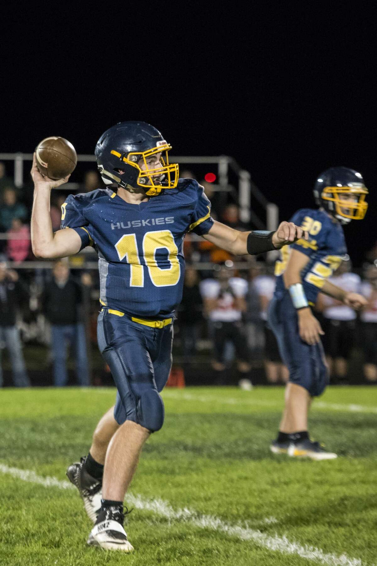 Breckenridge sophomore Carter Staley prepares to throw a pass during a game against the Merrill Vandals at Breckenridge High School on Friday.