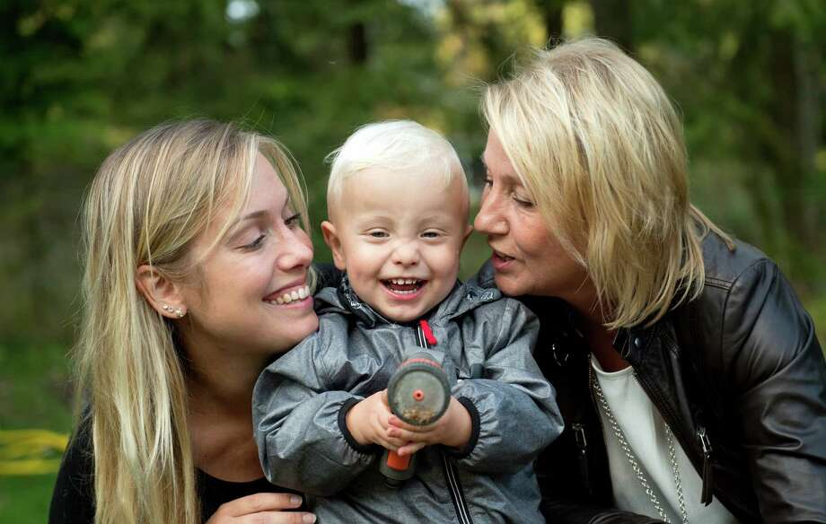 Emelie Eriksson, left, was the first person to have a baby after a womb transplant, which she received from her mother, Marie, right, in Bergshamra, Sweden. Her son, Albin, was born in 2014.  Photo: Niklas Larsson, STR / Copyright 2016 The Associated Press. All rights reserved.