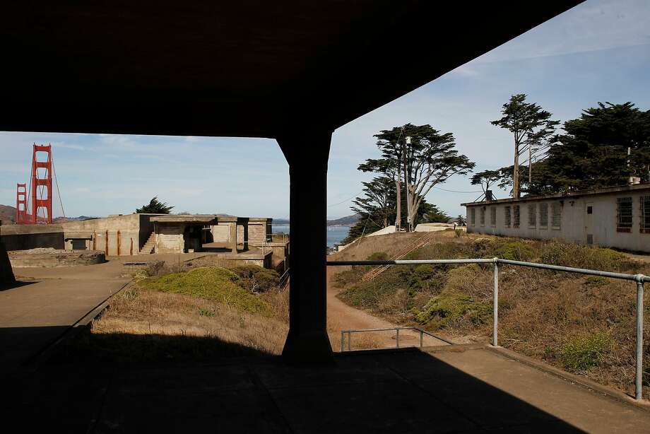 The Golden Gate Bridge is seen near Fort Winfield Scott at the top-secret Building 1648 in the Presidio. Photo: Gabriella Angotti-Jones, The Chronicle
