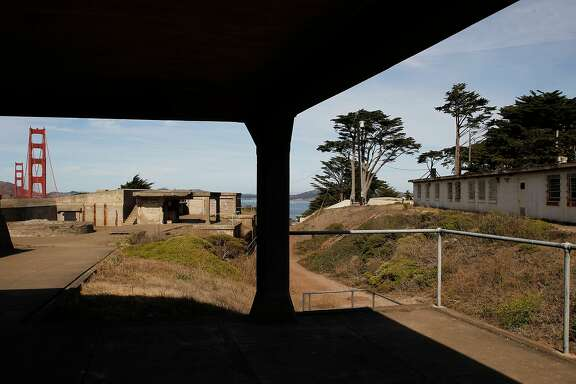 The Golden Gate Bridge is seen near Fort Winfield Scott at Langdon Court building in the Presidio on  Friday, Oct. 7, 2016 in San Francisco, Calif.