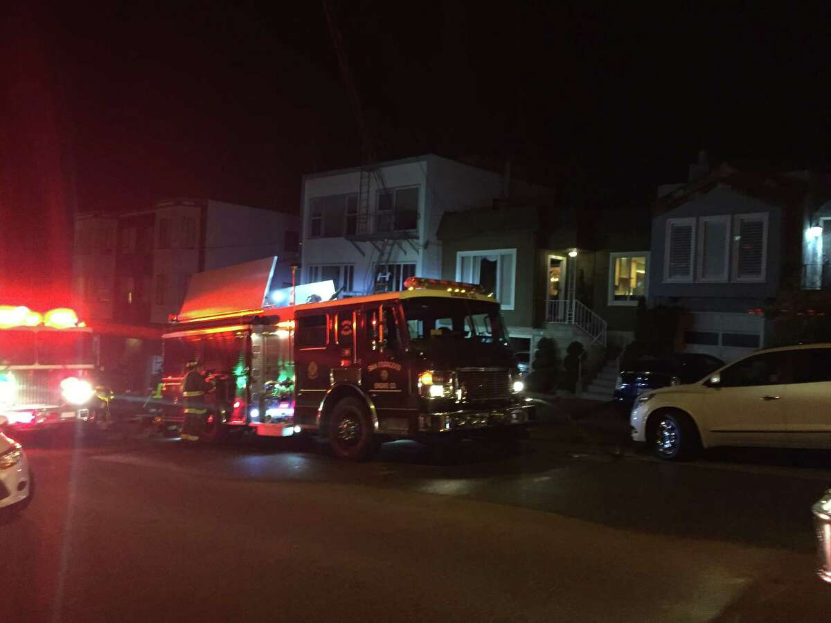 A two-alarm fire in San Francisco's Sunset district injured one Friday evening.