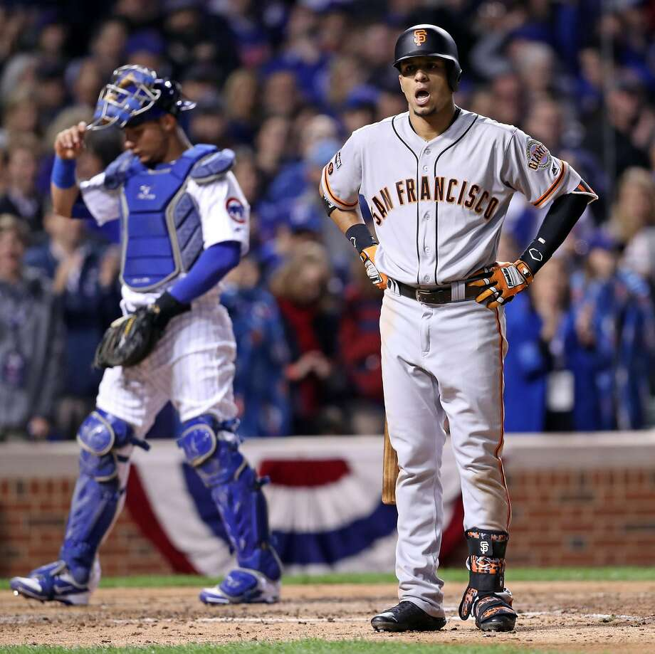 San Francisco Giants' Gorkys Hernandez reacts to being called out on strikes in 9th inning against Chicago Cubs' Aroldis Chapman during Cubs' 1-0 win  in Game 1 of the National League Division Series at Wrigley Field in Chicago. IL, on Friday, October 7, 2016. Photo: Scott Strazzante, The Chronicle