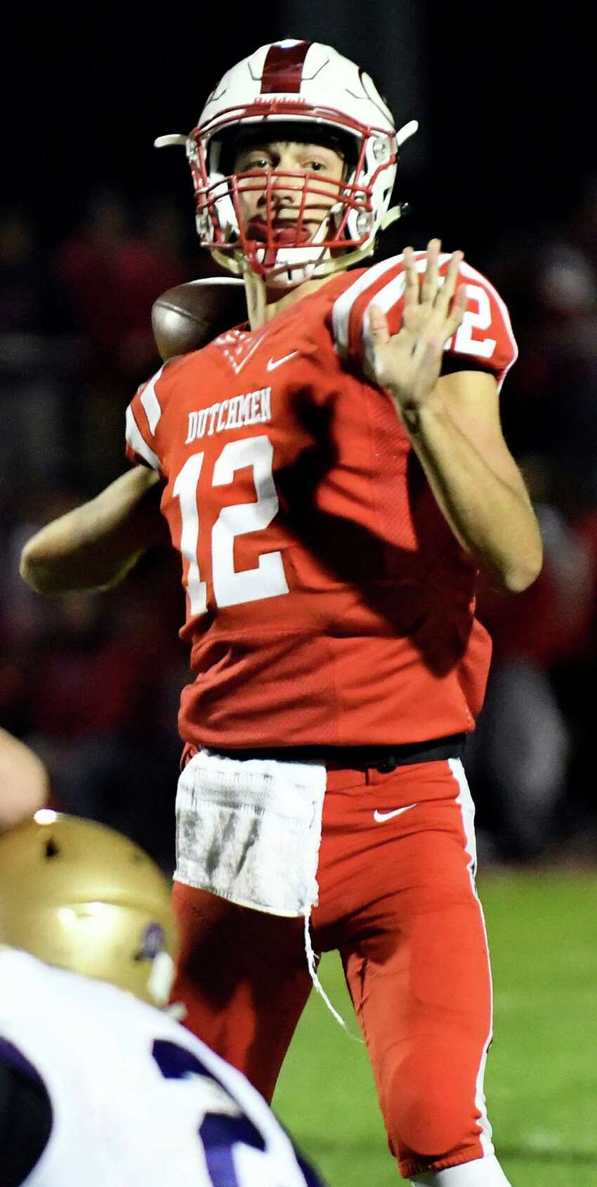 Guilderland's quarterback George Marinopoulos cocks back the ball for a pass during their football game against CBA on Friday, Oct. 7, 2016, at Guilderland High in Guilderland, N.Y. (Cindy Schultz / Times Union)